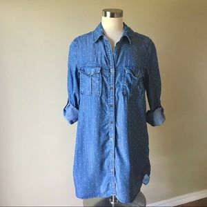 Philosophy Polka Dot Chambray Button Front Tunic